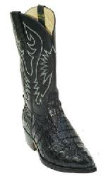 BLACK WESTERN CROCODILE TAIL BOOTS CUSTOM HANDMADE
