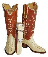 WOMEN'S BAIGE ALLIGATOR TAIL COWGRIL BOOTS W ALLIGATOR BELT