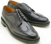HANDMADE BLACK LEATHER WINGTIP SHOES