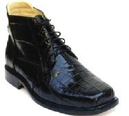 BLACK ALLIGATOR BELLY  LEATHER/SKIN ANKLE BOOTS  CUSTOM HANDMADE BESPOKE SHOES