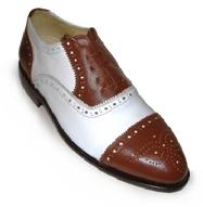 Custom made brown and white two tone lace up men's dress shoes