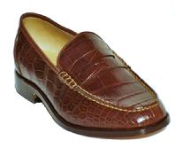 MENS BROWN PENNY LOAFER HANDMADE CUSTOM ALLIGATOR LEATHER/SKIN SHOES LOS ANGELES CA