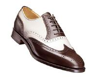 Men's shinny leather two tone shoes custom handemade